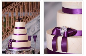 Wedding Cake Purple Ribbon