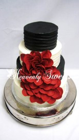 Cascading Petals in Black and Red