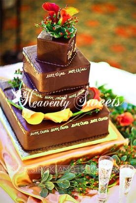 Chocolate Ganache Covered Cake with Ever Thine saying