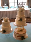 """Romantic Triple Cakes - Petals texture and """"naked"""" cake"""